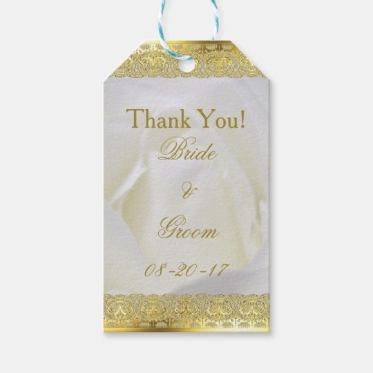 Gold Lace on White Rose Wedding Gift Tags