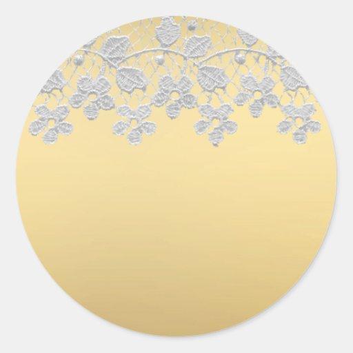Gold & Lace Round Sticker