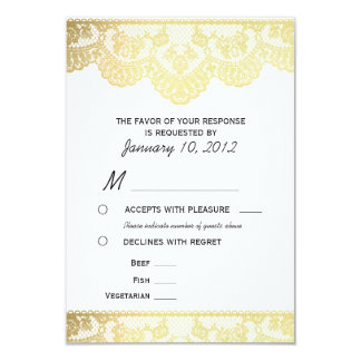 Gold Lace RSVP with Meal Options Card