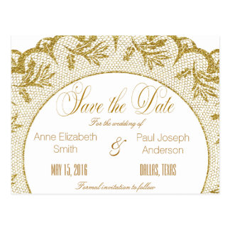 Gold lace Save the Date Postcard