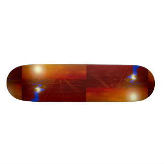 Gold land grid with sun and river skate board decks