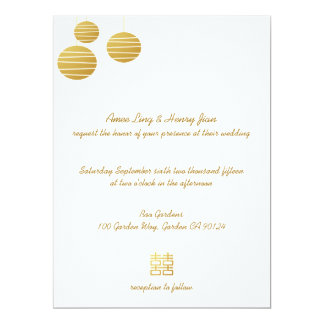 Gold Lantern & Double Happiness Wedding Invitation