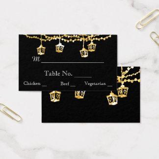 Gold Lantern Lights on Black Wedding Place Cards