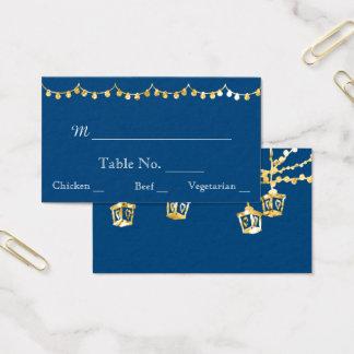 Gold Lantern Lights on Blue Wedding Place Cards