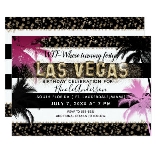 Gold LAS VEGAS Glitter Palm Trees Birthday Party Card