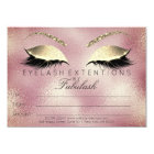 Gold Lashes Extension Makeup Certificate Gift Pink Card
