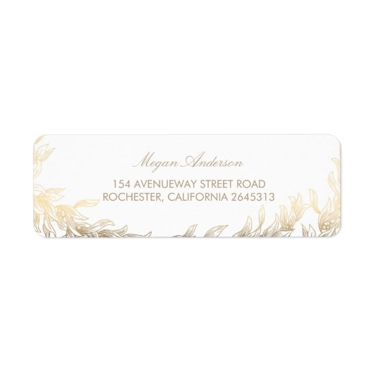 Gold Laurel Branches Wedding Return Address Label