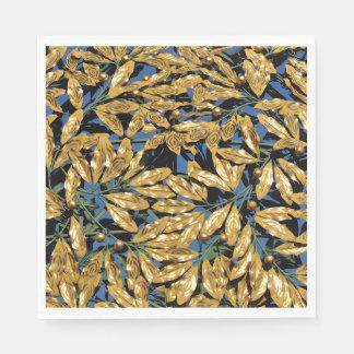 Gold Laurel Leaves Disposable Serviettes