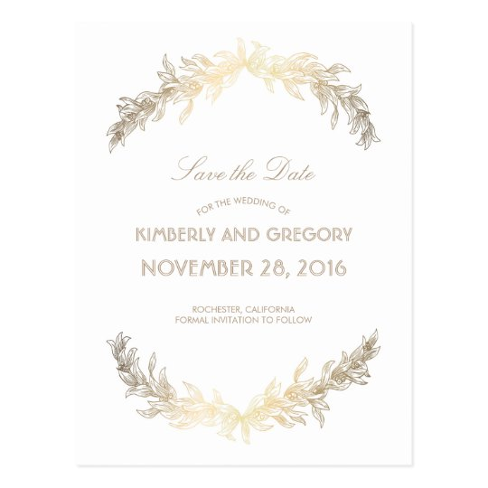 Gold Laurel Vintage Save the Date Postcard