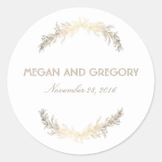 Gold Laurel Vintage Wedding Classic Round Sticker