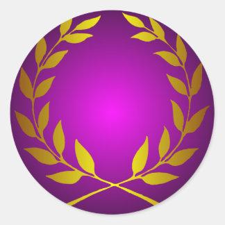 Gold Laurel Wreath Round Sticker