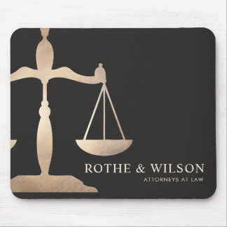 Gold Lawyer Scales of Justice Dark Brown Mouse Mat