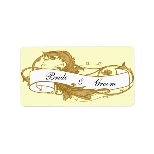 Gold Leaf and Banner Wedding Favour Tags
