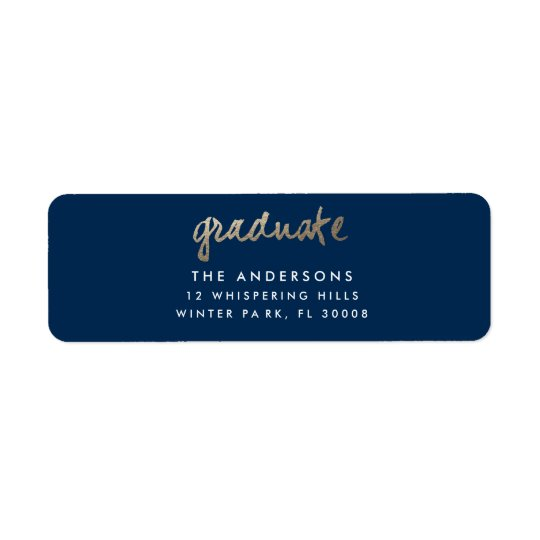 Gold leaf faux foil graduation address label