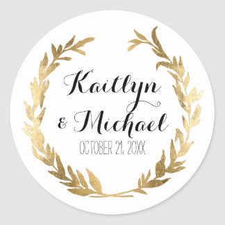 Gold Leaf Faux Stickers Modern Laurel Wreath Party