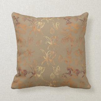 Gold leaf foxglove patterned cushion