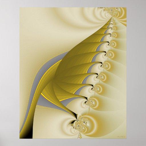 Gold Leaf Fractal Poster