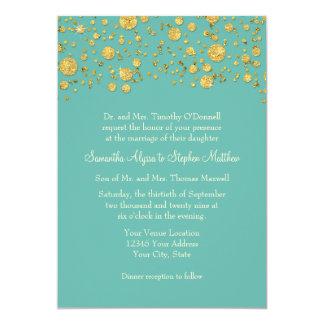 Gold Leaf Glitter Confetti Dots Elegant Wedding 13 Cm X 18 Cm Invitation Card