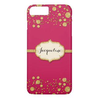 Gold Leaf Glitter Confetti Dots Personalized Name iPhone 7 Plus Case