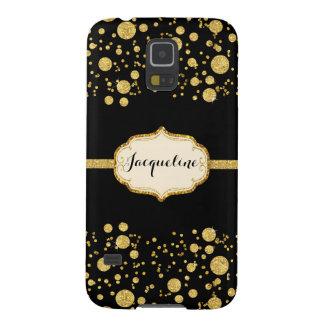 Gold Leaf Glitter Confetti Polka Dots Sparkle Galaxy S5 Cover