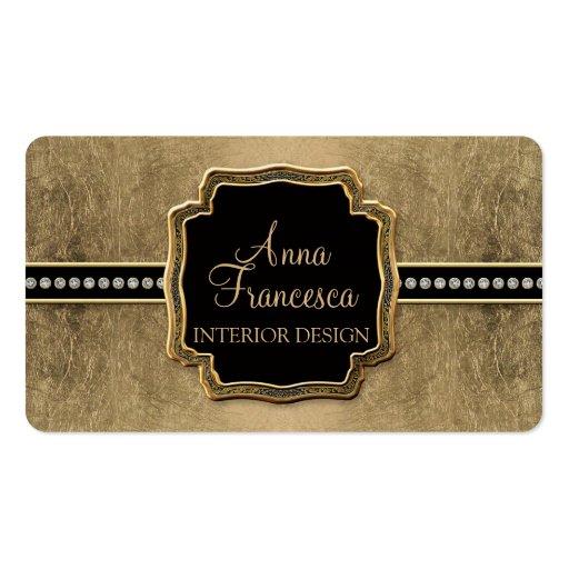 Gold Leaf Look Fleur de Lis Faux Vintage Jewel Business Card Templates