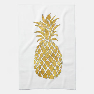 gold leaf look pineapple tea towel