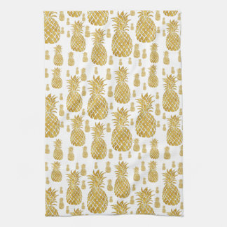 gold leaf look pineapples pattern tea towel