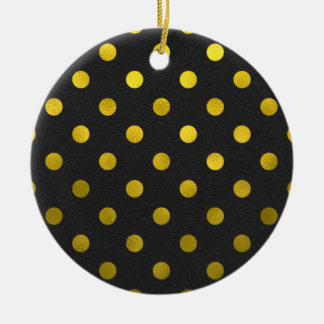 Gold Leaf Metallic Faux Foil Large Polka Dot Black Christmas Ornament