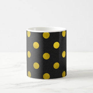 Gold Leaf Metallic Faux Foil Large Polka Dot Black Coffee Mug