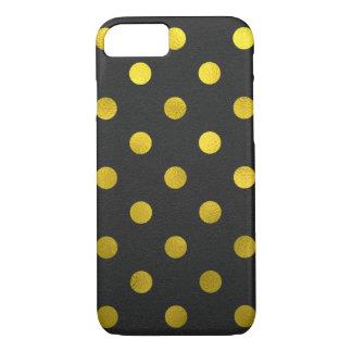Gold Leaf Metallic Faux Foil Large Polka Dot Black iPhone 7 Case