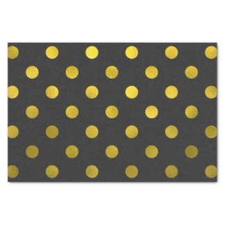 Gold Leaf Metallic Faux Foil Large Polka Dot Black Tissue Paper