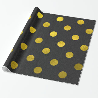 Gold Leaf Metallic Faux Foil Large Polka Dot Black Wrapping Paper