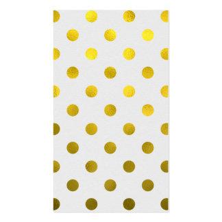 Gold Leaf Metallic Faux Foil Large Polka Dot White Pack Of Standard Business Cards