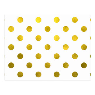 Gold Leaf Metallic Faux Foil Large Polka Dot White Postcard