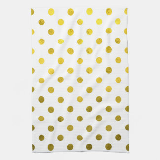 Gold Leaf Metallic Faux Foil Small Polka Dot White Tea Towel