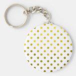 Gold Leaf Metallic Polka Dot on White Dots Pattern