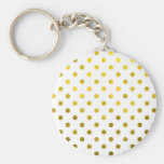 Gold Leaf Metallic Polka Dot on White Dots Pattern Basic Round Button Key Ring