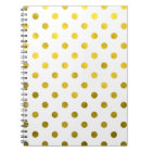 Gold Leaf Metallic Polka Dot on White Dots Pattern Notebook