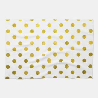 Gold Leaf Metallic Polka Dot on White Dots Pattern Tea Towel