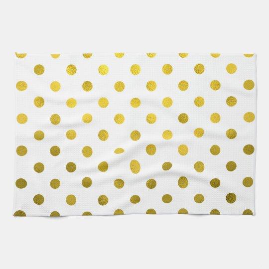 Gold Leaf Metallic Polka Dot on White Dots