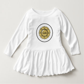 Gold leaf photo button dot design dress