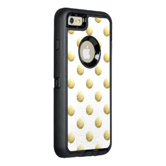 Gold leaf photo polka dots OtterBox defender iPhone case