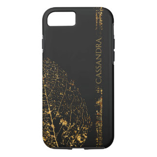 Gold Leaf Shape on Black - Add your name iPhone 8/7 Case