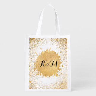 Gold Leaf Spray Wedding Gift Reusable Grocery Bag