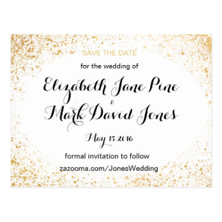 Gold Leaf Spry Save the Date Postcard