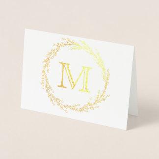 Gold Leaf Wreath Monogram Foil Card