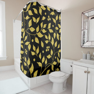 Gold Leafs PatternOn Black Shower Curtain