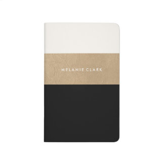 Gold leather and black journal
