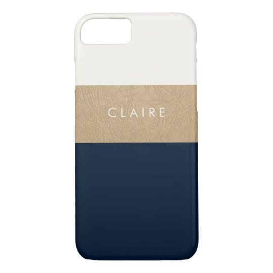 Gold leather and navy blue iPhone 7 case