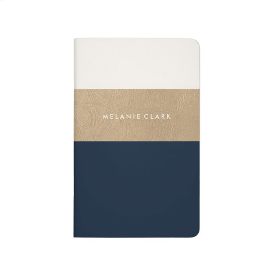 Gold leather and navy blue journal
